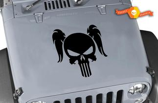 Jeep Wrangler Pigtail Punisher Skull Vinyl Blackout Hood Decal Female Pony Tail Punisher Skull Vinyl Decal