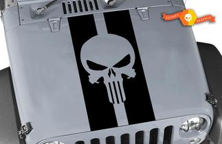 Jeep Wrangler Punisher Skull Pin Stripe Blackout Hood Decal