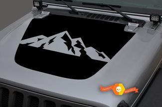 2018-2021 Jeep Gladiator JT Wrangler JL Jlu Hood Mountains Vinyl Decal Sticker Graphics