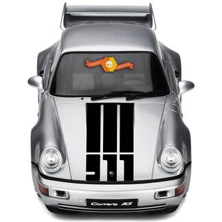 Porsche 911 Hood Central 3 Stripes and 911 Logo Decal Sticker