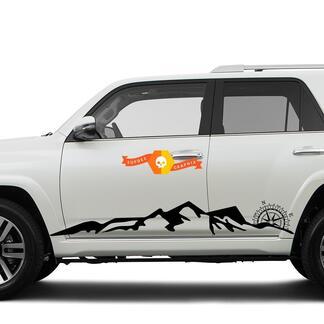 Side Mountains und Compass Rocker seitlich Vinyl Sticker Decal passend für Toyota 4Runner 16-20 TRD