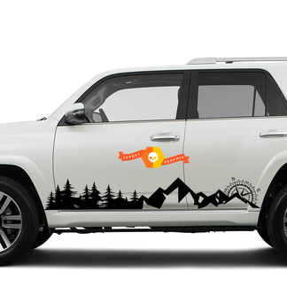 Side Trees Mountains and Compass Rocker side travel Vinyl Sticker Decal fit to Toyota 4Runner 2013 - 2020 TRD Fifth generation