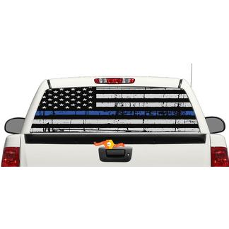 Thin Blue Line Flag Graphic Rear Window OR tailgate Decal Sticker Pick-up Truck SUV Car
