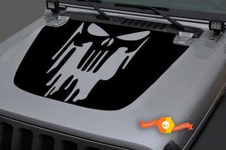 Jeep 2018-2021 Gladiator JT Wrangler JL Jlu Hood Lekte Punisher Vinyl Decal Sticker Graphics