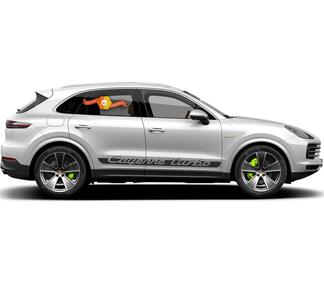 Porsche Cayenne Turbo Script Side Stripes Decal Sticker 2003–present