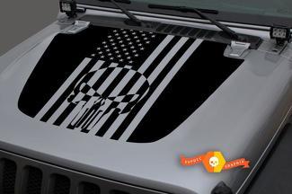 Jeep 2018-2021 Gladiator JT Wrangler JL JLU Motorhaube Punisher Schädel USA Flagge Vinyl Aufkleber Aufkleber Grafik
