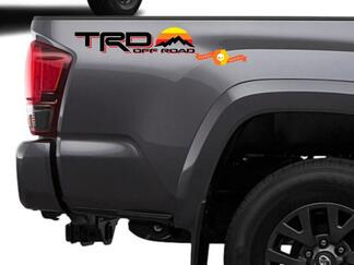 Pair of TRD 4x4 Off road with Mountains Vintage Sunset Old Style Side Vinyl Stickers Decal fit to Tacoma Tundra 4Runner