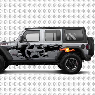 Pair of Jeep Wrangler Unlimited Wrangler JL Distressed star side body decal kit