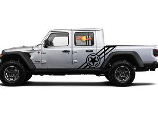 Jeep Gladiator 2020 JT Large Star Bar Stripe Vinyl Graphics decals sticker for both sides