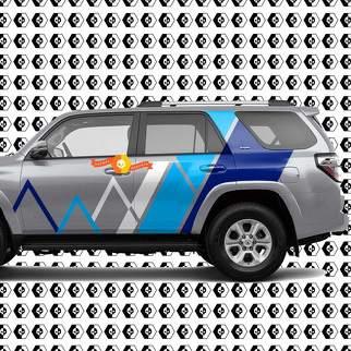 Toyota 4Runner Mountains Linien und Streifen Vintage Retro Aufkleber Blau Farben Aufkleber Grafik Seitenbett Nacht Body Body Kit Für 4Runner 2013 - jetzt