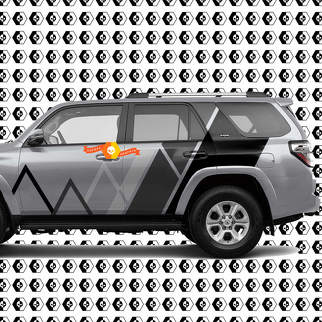 Toyota 4Runner Mountains Lines and Stripes Vintage Retro Decal Grey Shadows Color Sticker Graphic Side Bed Bedside Body Kit For 4Runner 2013 - now