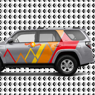 Toyota 4Runner Mountains Lines and Stripes Vintage Retro Color Decal Sticker Graphic Side Bed Bedside Body Kit For 4Runner 2013 - now