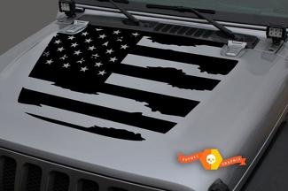 Jeep 2018 - 2021 Gladiator Wrangler JL Jlu JT Hood US USA Vlag Vernietigd Shabby Vinyl Decal Sticker Graphic