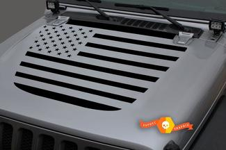 Jeep 2018 - 2021 Gladiator Wrangler JL JLU JT Hood US USA Flag Vinyl Decal Sticker Graphic