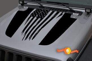 Jeep 2018 - 2021 Gladiator Wrangler JL Jlu JT Hood Vernietigd Shabby US USA Flag Vinyl Decal Sticker Graphic