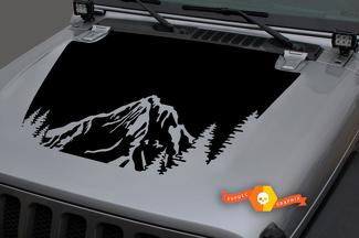 Jeep 2018-2021 Gladiator Wrangler JL Jlu JT Hood Forest Mountains Vinyl Decal Sticker Grafisch