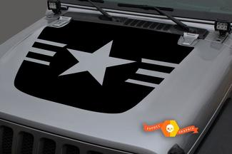Jeep 2018-2021 Gladiator Wrangler JL JLU JT Hood Army Navy Air Force Star Military Vinyl Decal Sticker Graphic