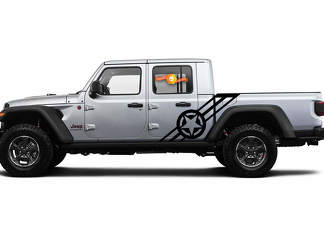 2 side Jeep Gladiator Side Door Stripes Navy Army USA Star Decals Vinyl Graphics Stripe kit for 2020-2021 for both sides