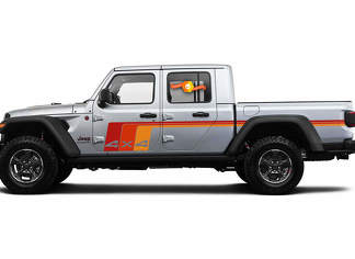 2 side Jeep Gladiator 4X4 Side Door Old School Retro Stripes Decals Vinyl Graphics Stripe kit for 2020-2021 for both sides.