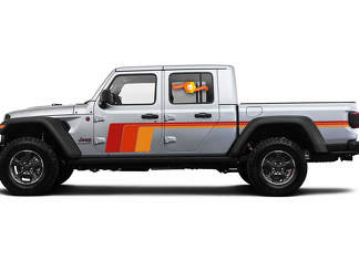 2 side Jeep Gladiator Side Door Old School Retro Stripes Decals Vinyl Graphics Stripe kit for 2020-2021 for both sides.