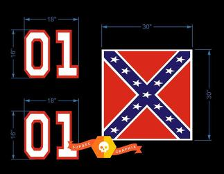 Small General Lee Decal Kit Vinyl Decal Stickers