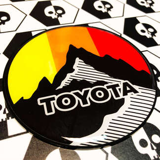New Toyota Sun Mountains Vintage Colors Badge Emblem Domed Decal with High Impact Polystyrene