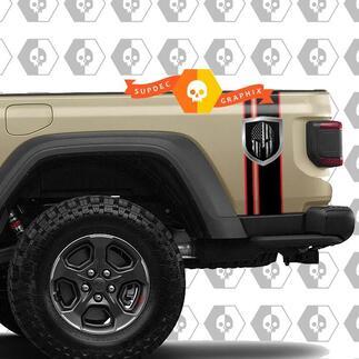 Twee tonen achterste strepen met schild en gladiatorhelm vinylsticker stickers voor jeep Gladiator