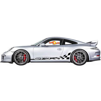 Porsche 911 Carrera 4 Checkered Side Stripes Kit Decal Sticker