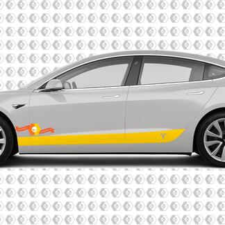 2 Custom TESLA model 3 side Rocker Panel body Vinyl Sticker Decal Logo Graphic