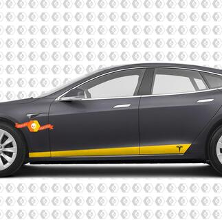 2 Custom TESLA model S side Rocker Panel body Vinyl Sticker Decal Logo Graphic
