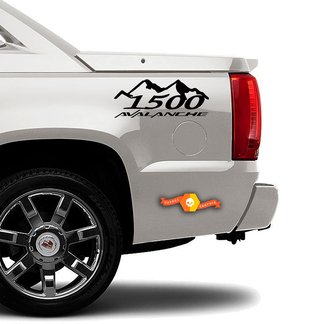 1500 Mountains AVALANCHE flame TRUCK BED SIDE  DECAL SET