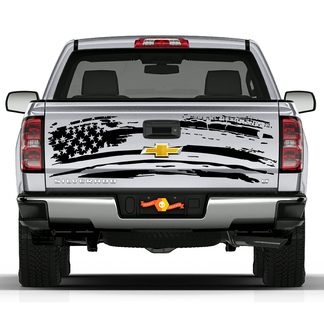 2007-2018 Chevy Silverado Splatter Silverado USA Flag Stripes Tailgate Vinyl Graphics Decals