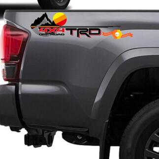 New TRD 4x4 Off road with Mountains Vintage Sunset Retro Old Style Side Vinyl Stickers Decal fit to Tacoma Tundra 4Runner