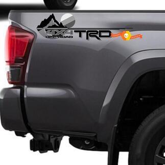 Neuer TRD 4x4 Offroad mit seitlichen Vinyl-Aufklebern im monochromen grauen Stil von Mountains, passend für Tacoma Tundra 4Runner
