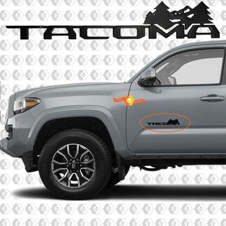 Black Tacoma Mountains and Trees Metal Aluminum Badge Bed Side Emblem Aluminium