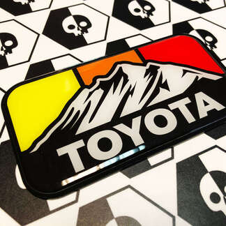 New Toyota Mountains Retro Vintage Colors Badge Emblem Domed Decal with High Impact Polystyrene