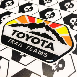 2 Decals Toyota Trail Teams Mountains Vintage Sun Colors Badge Emblem Domed Decal