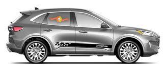 2x Side Ford Escape Vinyl Strepen Body Decal Vinyl Graphics Sticker Aangepaste Tekststijl 4