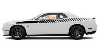 2008 & Up Dodge Challenger Bodyline Strobe Racing Stripe Kit in voller Länge 1