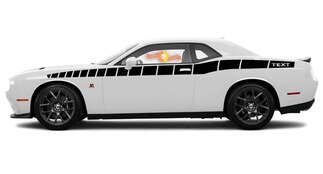 2008 & Up Dodge Challenger in voller Länge Benutzerdefinierter Textstil Bodyline Strobe Racing Stripe Kit 4