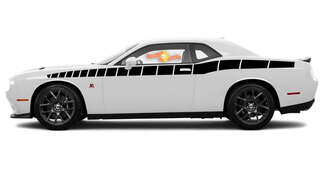 2008 & Up Dodge Challenger Full Length Style Bodyline Strobe Racing Stripe Kit 5