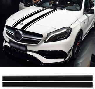 Motorhaube Aufkleber schwarz Streifen Aufkleber für Mercedes Benz A C GLA GLC CLA 45 AMG W176 C117 W204 W205 Stil Motorhaube Streifen Grafiken