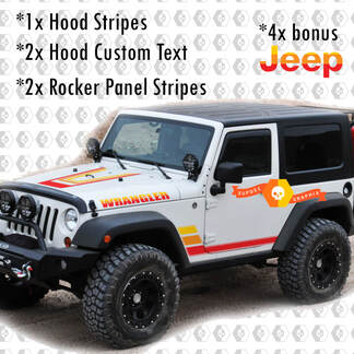 Retro Vintage Kit Hood Rocker Panel Decals Stickers voor Jeep Wrangler Rubicon Renegade JK 2 Deuren