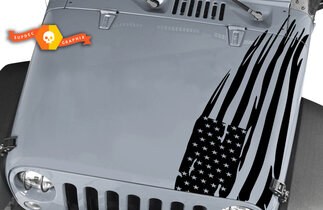 Jeep Wrangler Rubicon large Distressed American Flag Hood Decal