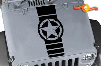Jeep Wrangler Rubicon Distressed Army Star Hood Decal