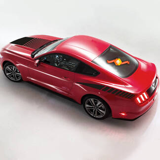 Faded Strobe Hood Stripe Stripes Graphics Decals All 2015 - Up Mustang
