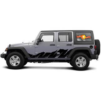 2 Side Jeep Decal Sticker Tuimelpaneel Bergen Zijde Deur Graphics Wrangler JK 4 Deur