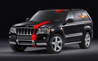 Grafischer Aufkleberstreifen für Jeep Grand Cherokee SRT Dach Kotflügelbett Scheinwerferschutz