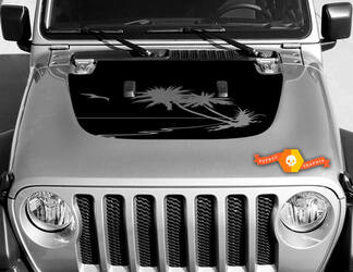 Tropical palms vinyl decal graphics sticker for hood Wrangler JL 2018 2019  #1