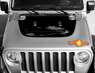 Tropical palms vinyl decal graphics sticker for hood Wrangler JL 2018 2019 #3